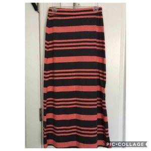 Coral and Gray Maxi Skirt